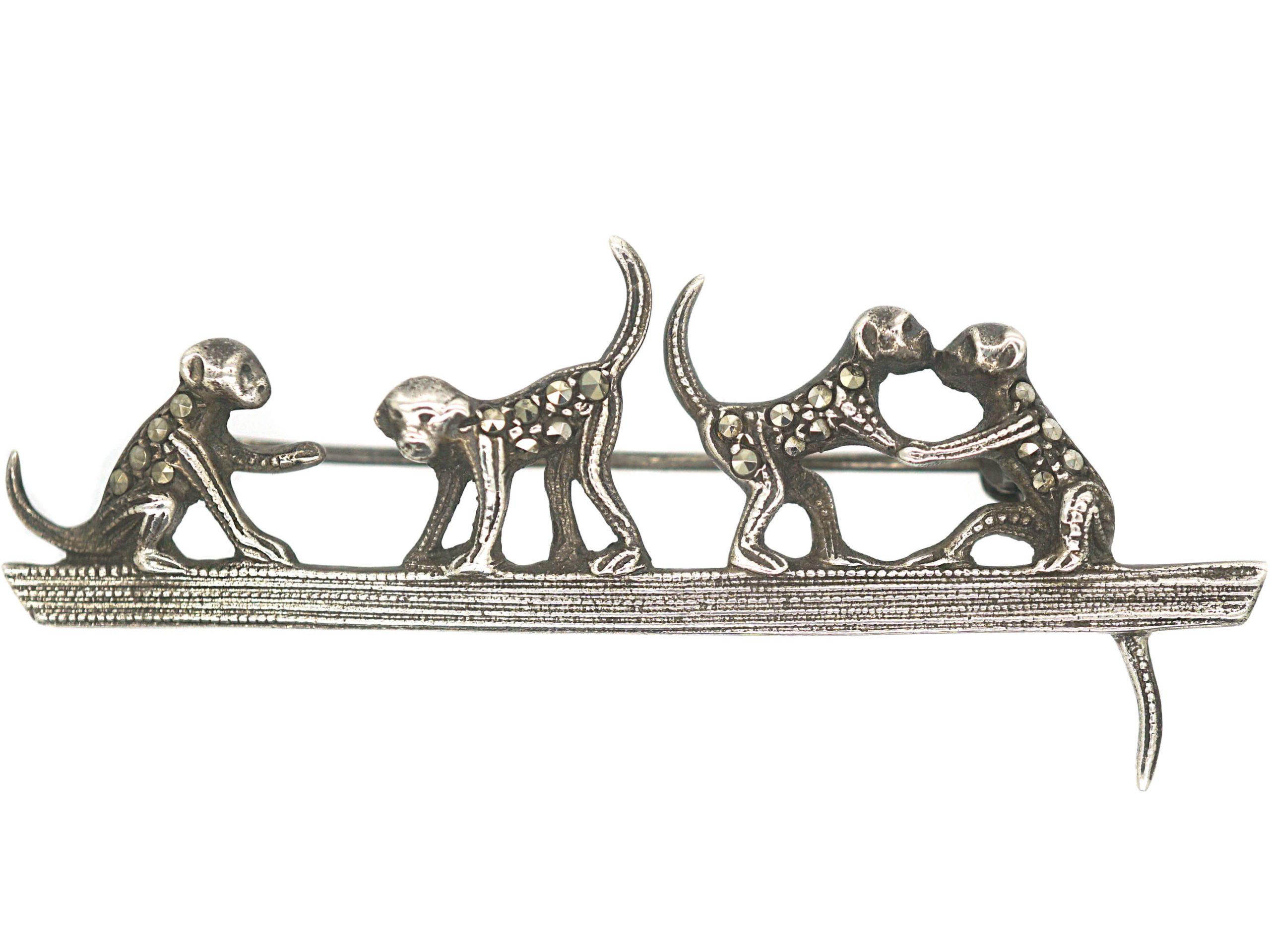 Art Deco Silver & Marcasite Playful Monkeys Brooch
