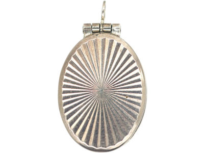 Small Silver Oval Locket with Sunburst Design