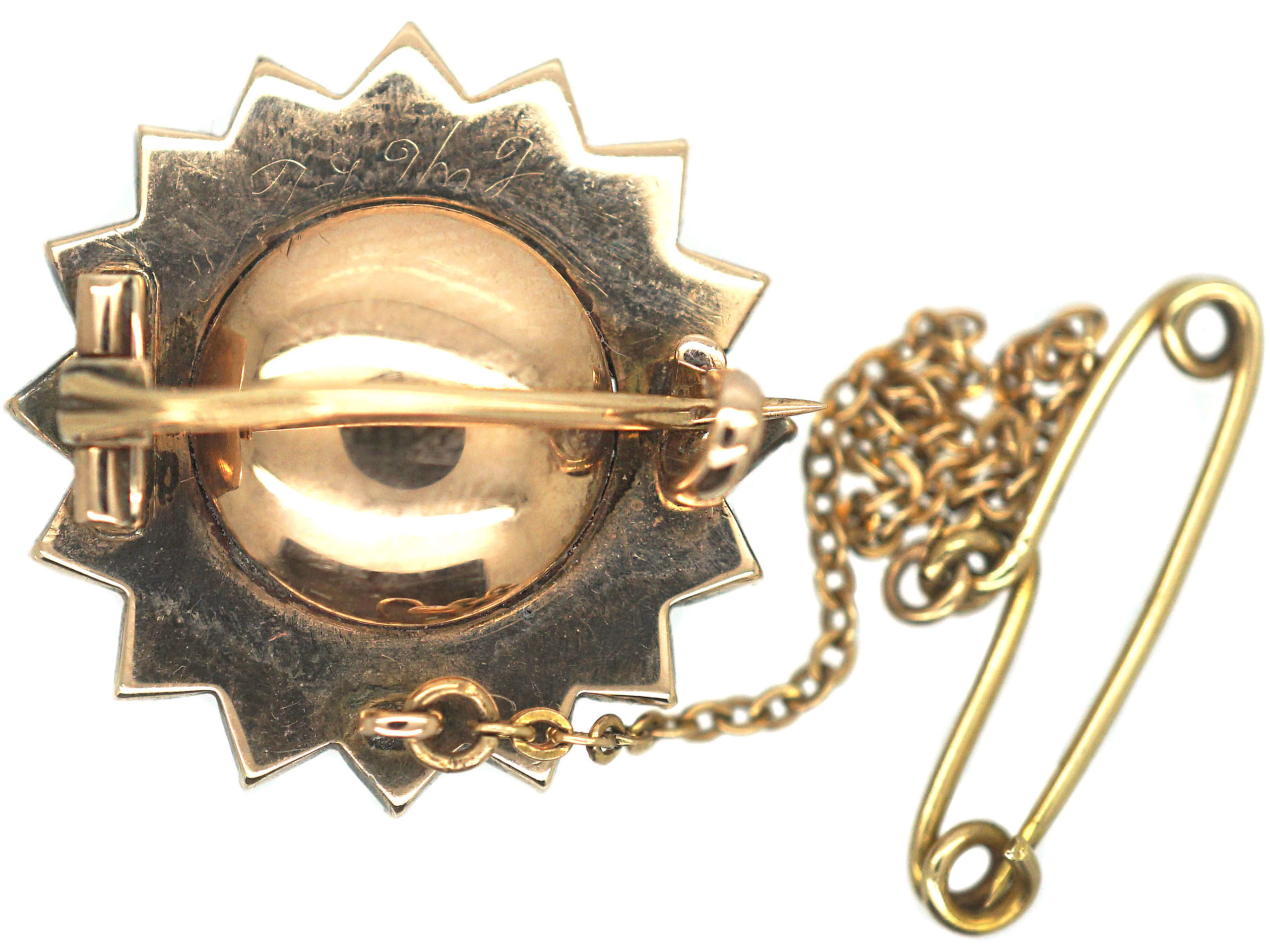 Georgian Gold & Flat Cut Garnet Brooch