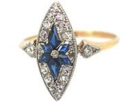 Edwardian 18ct Gold & Platinum, Marquise Shaped Sapphire & Diamond Ring