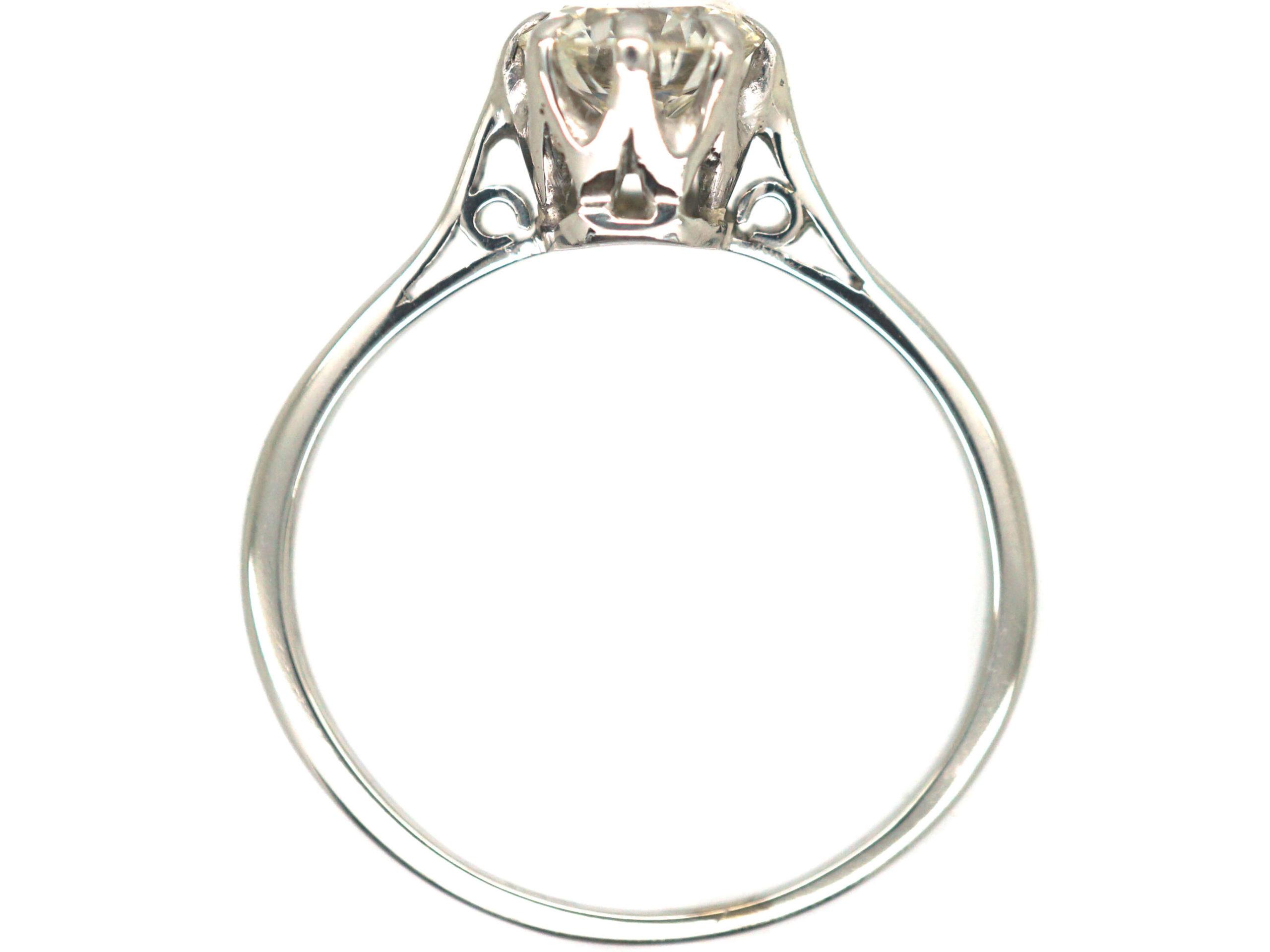 Art Deco Platinum, Diamond Solitaire Ring