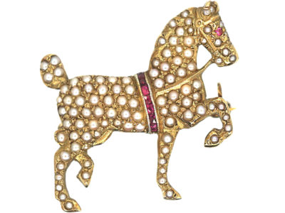 Edwardian 15ct Gold, Natural Split pearl & Ruby Dressage Horse Brooch