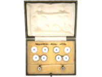 Art Deco 9ct & 18ct Gold Mother of Pearl & Sapphire Dress Set in Original Case