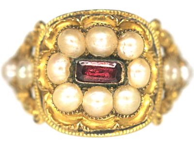 Georgian 18ct Gold Garnet & Natural Split Pearls Ring