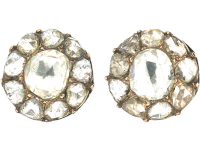 19th Century 14ct Gold Rose Diamond Cluster Earrings