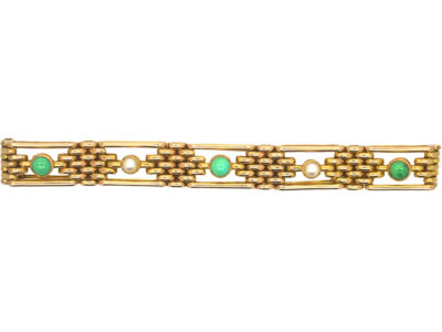 Edwardian 15ct Gold Bracelet set with Turquoise & Natural Split Pearls