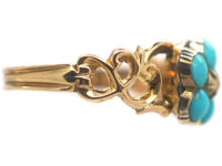 Regency 15ct Gold & Turquoise & Rose Diamond Forget me Not Ring