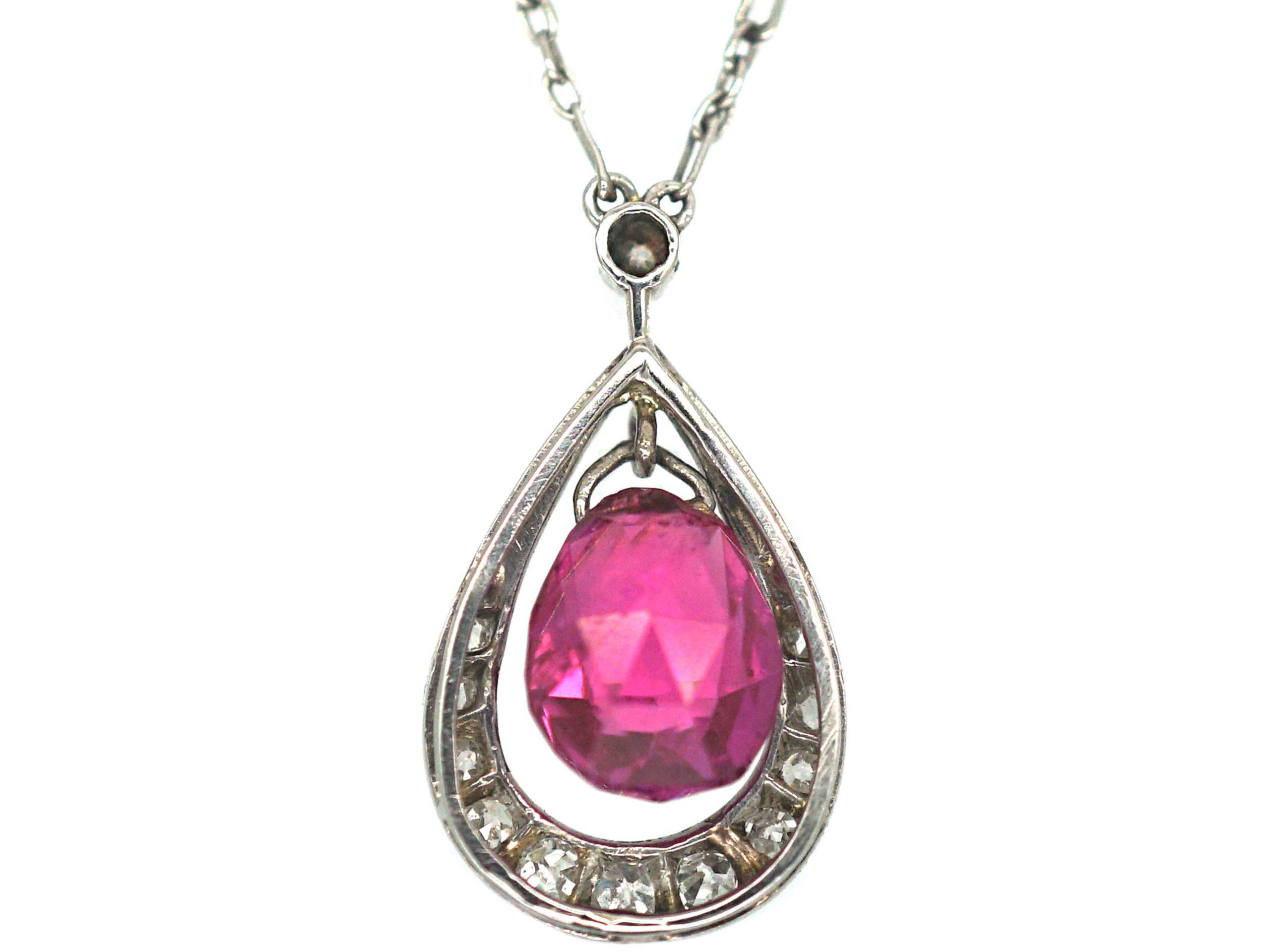 Art Deco Platinum, Pink Sapphire & Diamond Pendant on a Platinum Chain