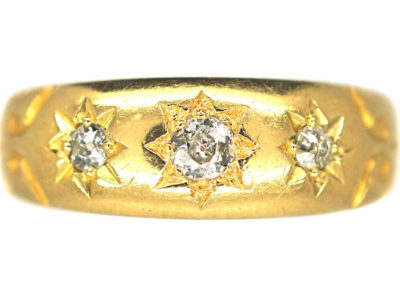 Victorian 18ct Gold & Three Stone Diamond Ring