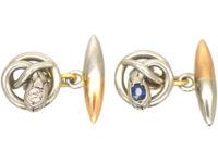 Edwardian Platinum & 15ct Gold Snake Cufflinks set with a Diamond and a Sapphire