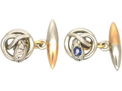 Edwardian Platinum & 15ct Gold Snake Cufflinks set with a Diamond and a Sapphire