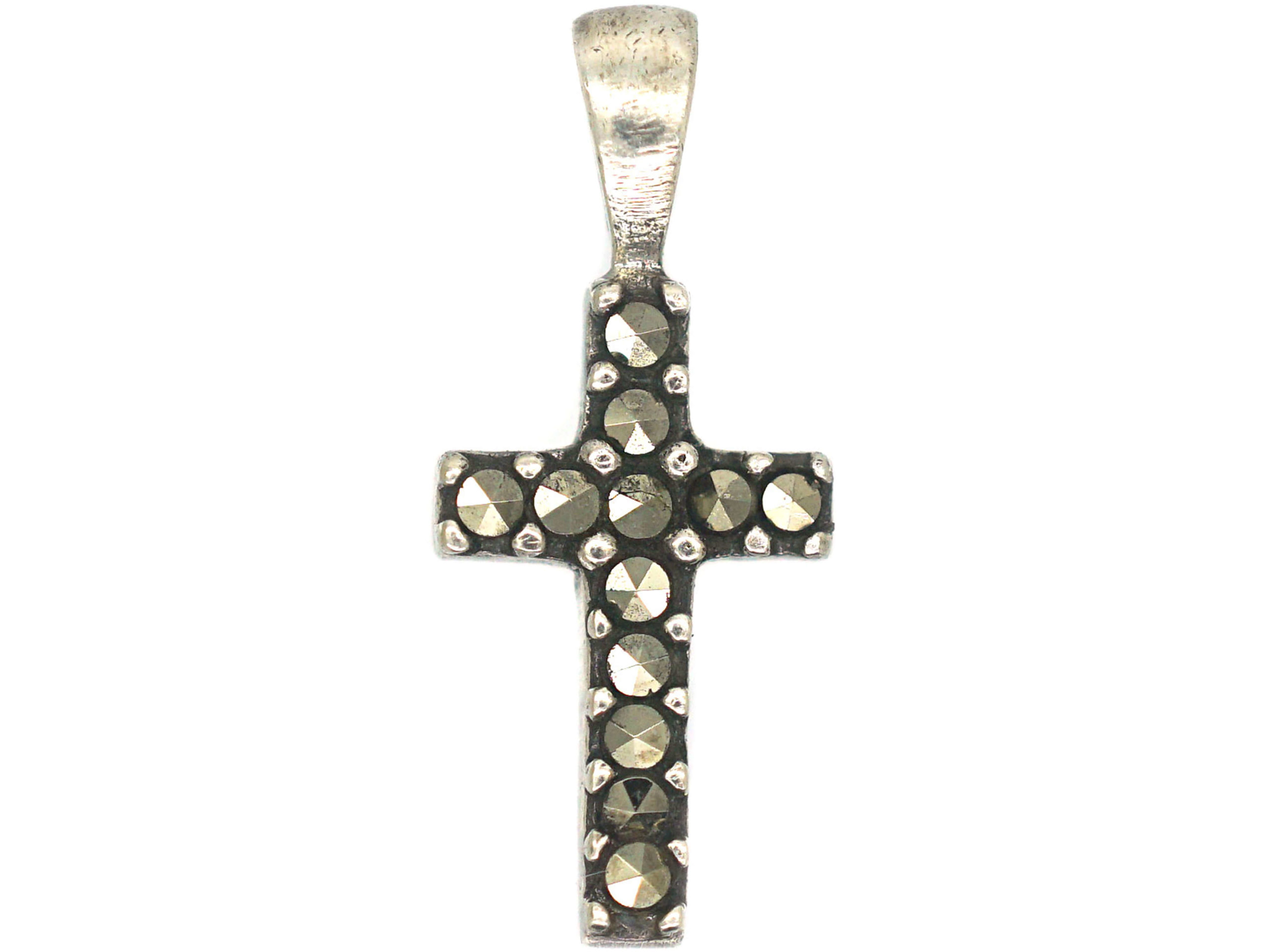 Tiny Silver Marcasite Cross Pendant