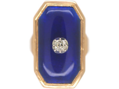 Georgian Blue Glass & Old Mine Cut Diamond Bague au Firmament Ring