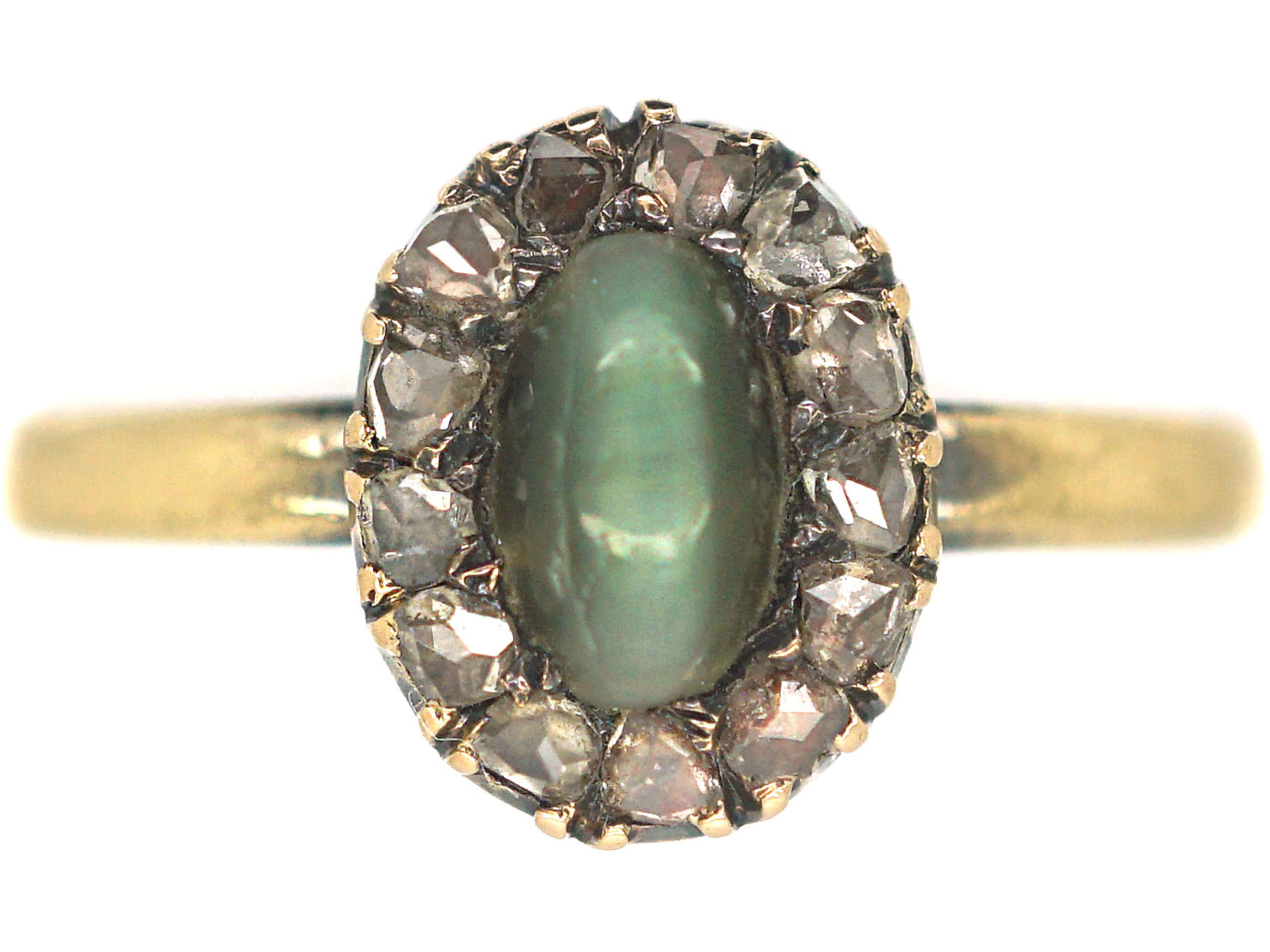 Edwardian 18ct Gold, Cat's Eye Chrysoberyl & Rose Diamond Cluster Ring