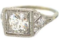 Art Deco 14ct White Gold & Platinum, Square Diamond Ring with Diamond Set Shoulders