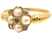 Regency 18ct Gold, Natural Split Pearl, Rose Diamond Ring