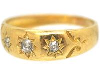 Victorian 18ct Gold & Three Stone Diamond Ring