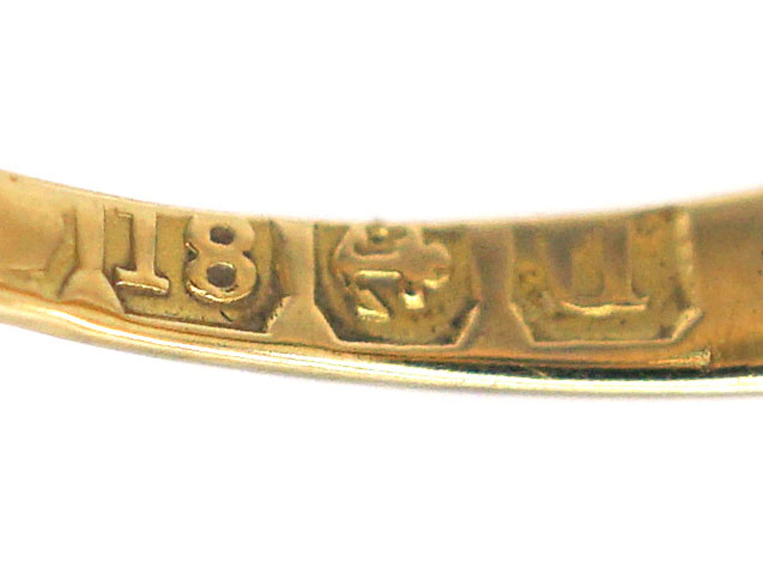 Edwardian 18ct Gold Sapphire, Emerald & Diamond Five Stone Ring