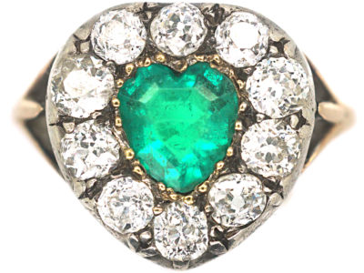 Victorian 18ct Gold, Emerald & Diamond Heart Shaped Ring