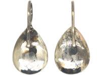 Georgian Silver & Almandine Garnet Pear Shaped Earrings