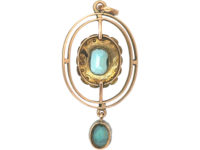 Edwardian 9ct Gold, Aquamarine & Natural Split Pearls Pendant