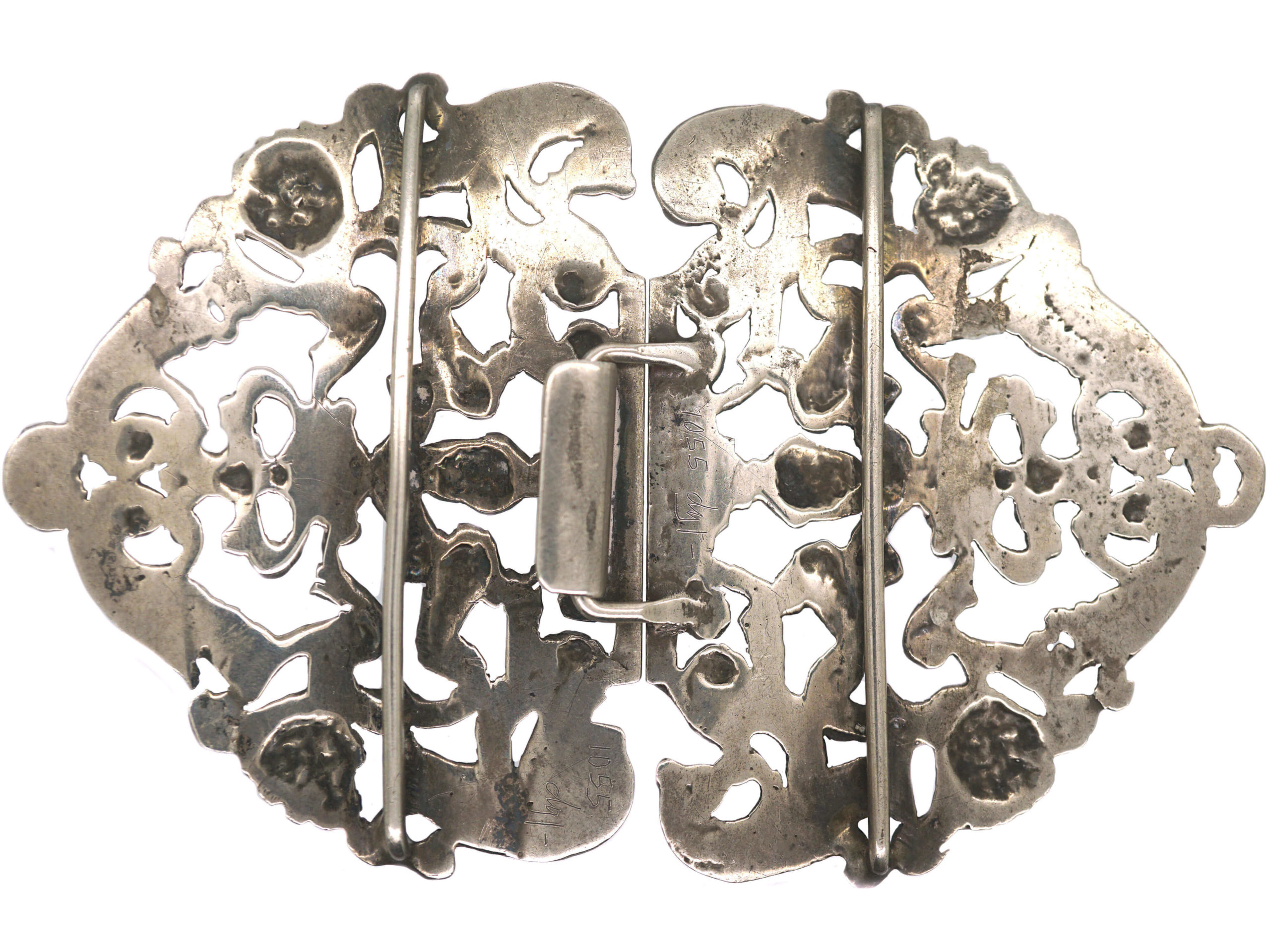 19th Century Dutch Silver Buckle with Angels