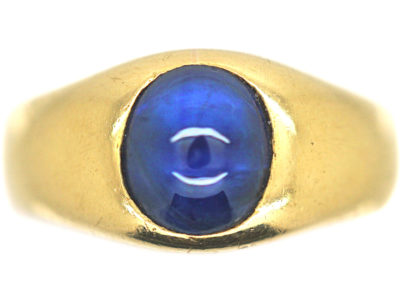 Art Deco 18ct Gold Cabochon Sapphire Rub Over Set Ring