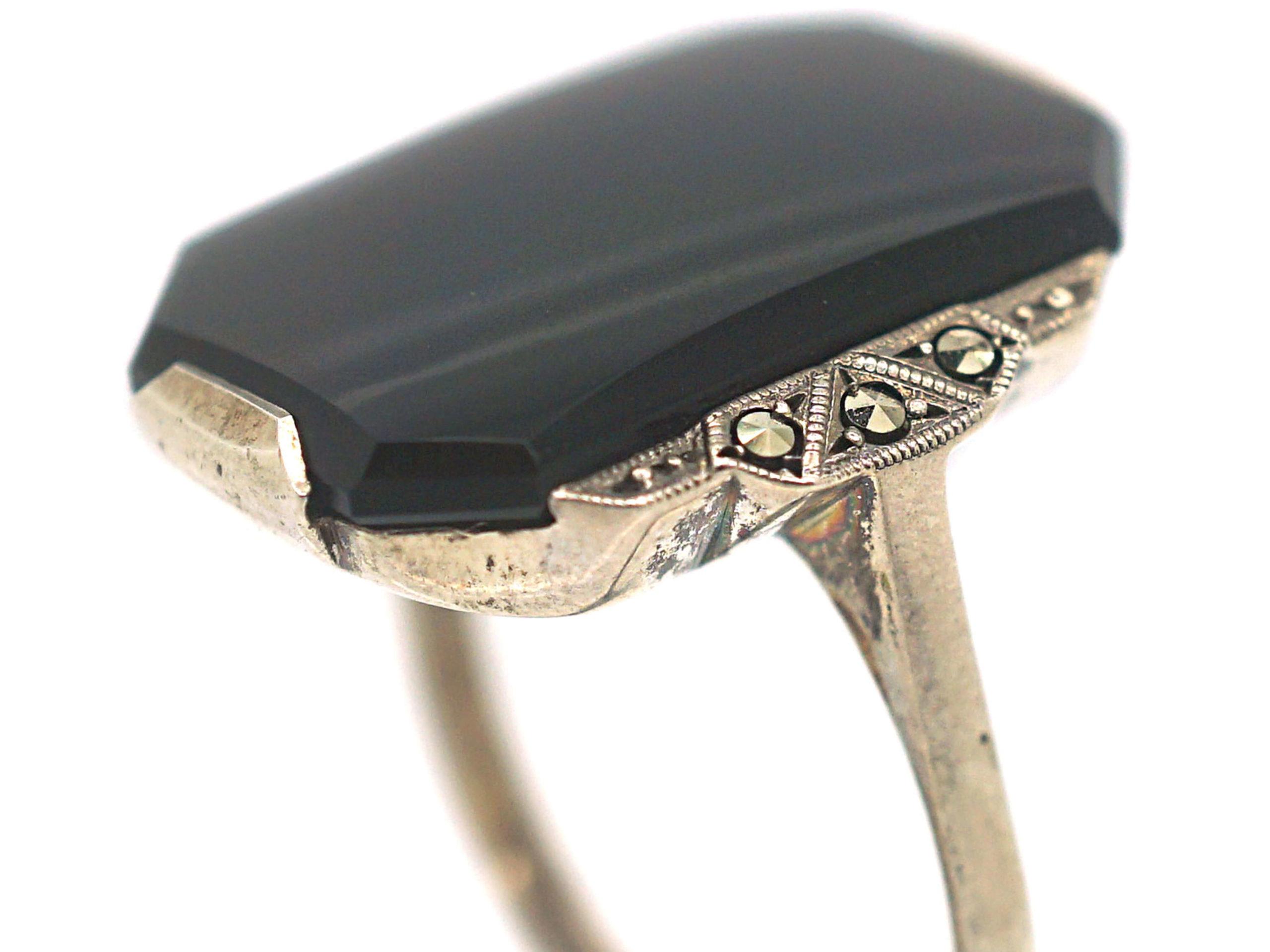 Art Deco Silver, Marcasite & Onyx Rectangular Ring