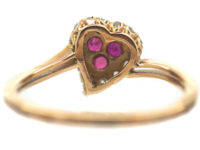 French 18ct Gold Belle Epoque Heart Shaped Ring set with Rubies & Rose Diamonds