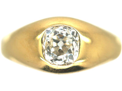 Victorian 18ct Gold & Diamond Rub Over Set Ring