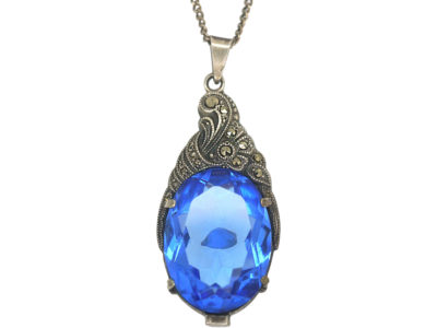Art Deco Silver & Blue Paste Pendant on a Silver Chain