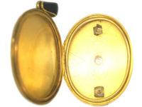 Victorian 18ct Gold & Black Enamel Oval Locket set with a Diamond
