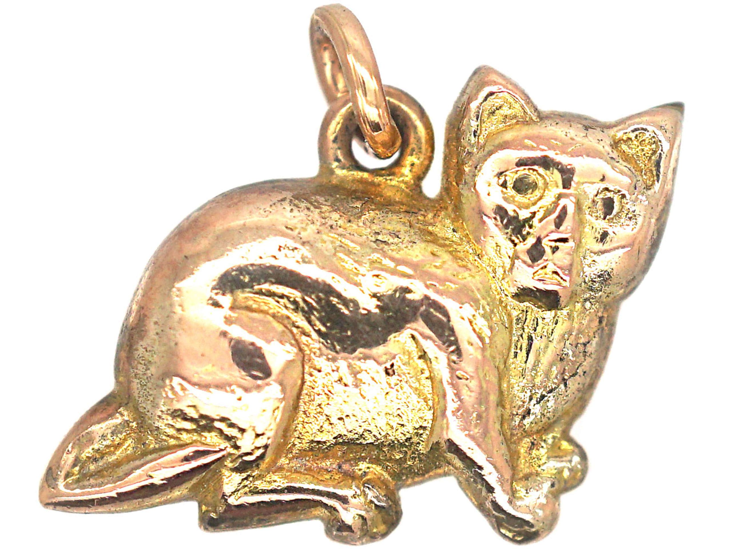 Edwardian 9ct Gold Cat Charm