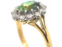 Edwardian 18ct & Platinum Parti Sapphire Oval Cluster Ring