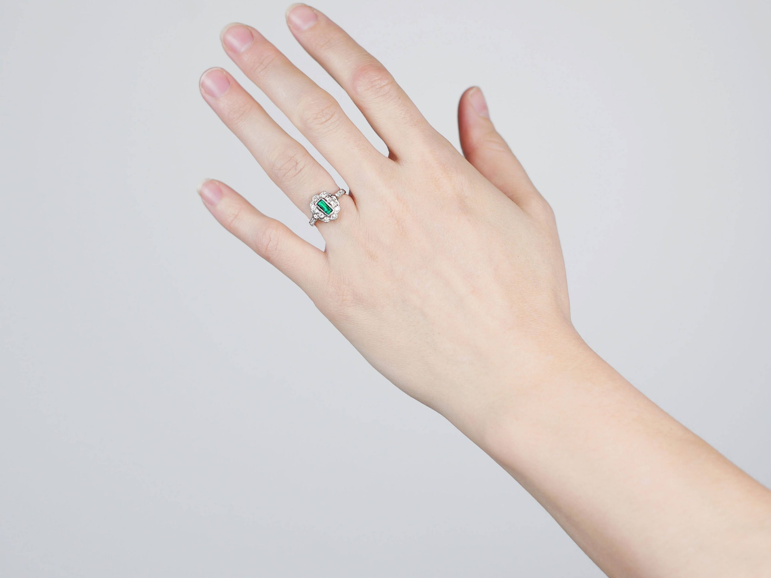 Art Deco Platinum, Emerald & Diamond Rectangular Cluster Ring