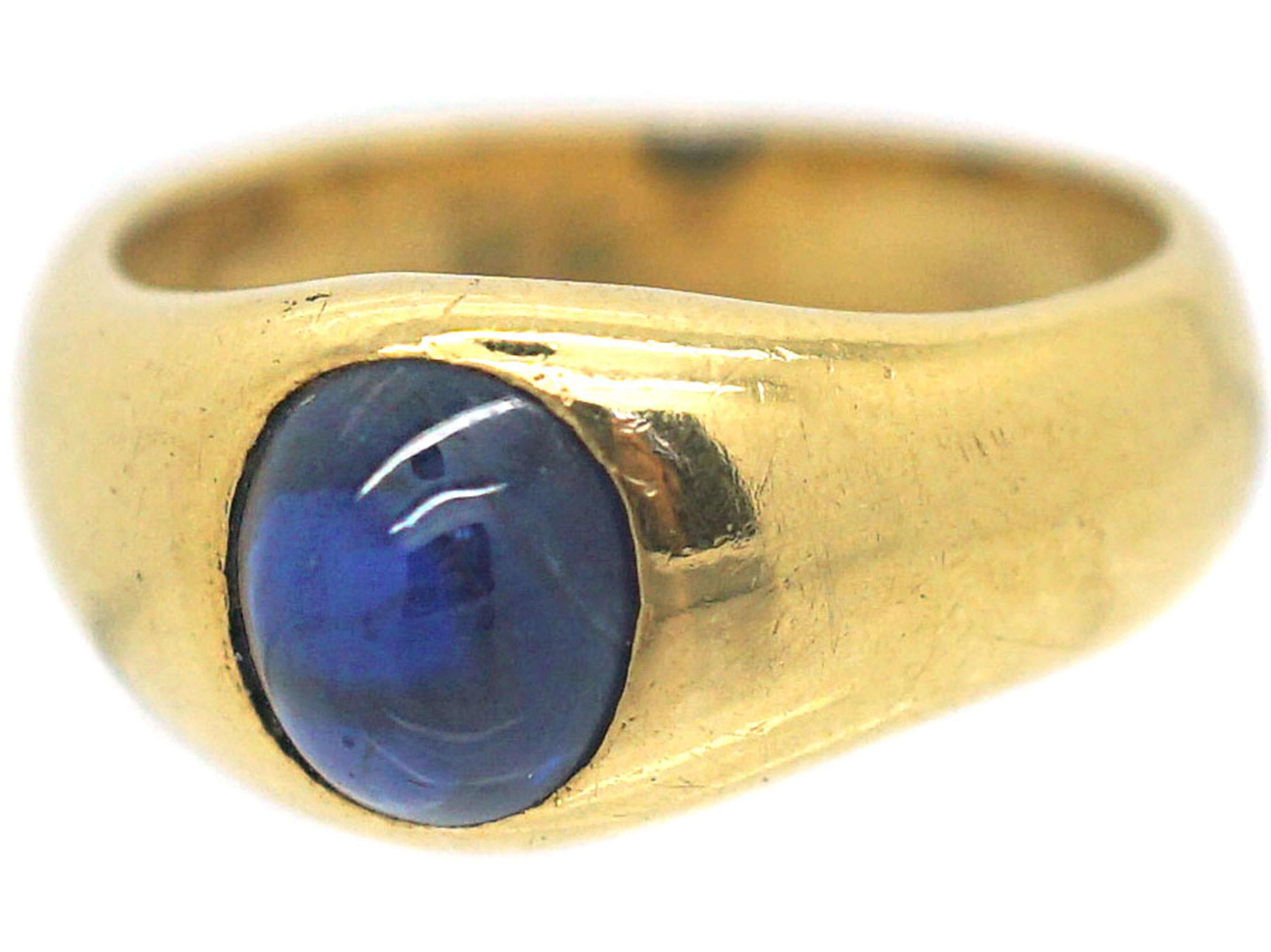 Art Deco 18ct Gold Cabochon Sapphire Rub Over Set Ring