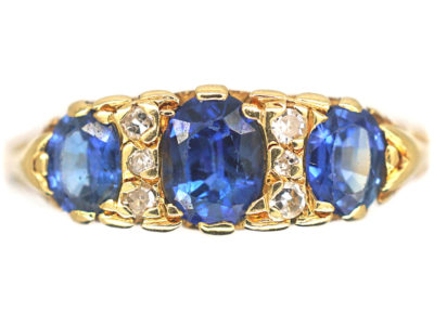 18ct Gold Three Stone Sapphire & Diamond Carved Half Hoop Ring
