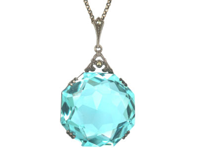 Art Deco Colour Change Synthetic Spinel Pendant on Silver Chain
