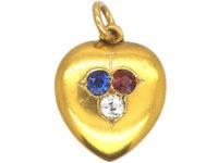 Edwardian Ruby, Sapphire & Diamond Heart Shaped Locket