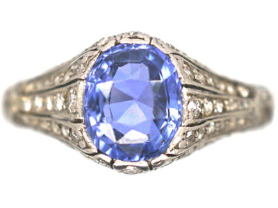 Art Deco Platinum, Ceylon Sapphire & Rose Diamond Ring