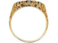 18ct Gold Three Stone Sapphire & Diamond Carved Half Hoop Ring