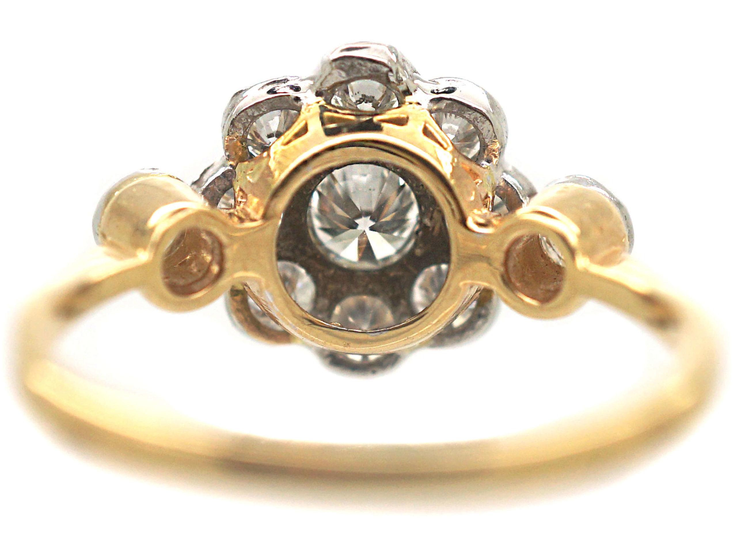 Diamond Cluster Ring with Heart & Arrow Diamond Set Shoulders