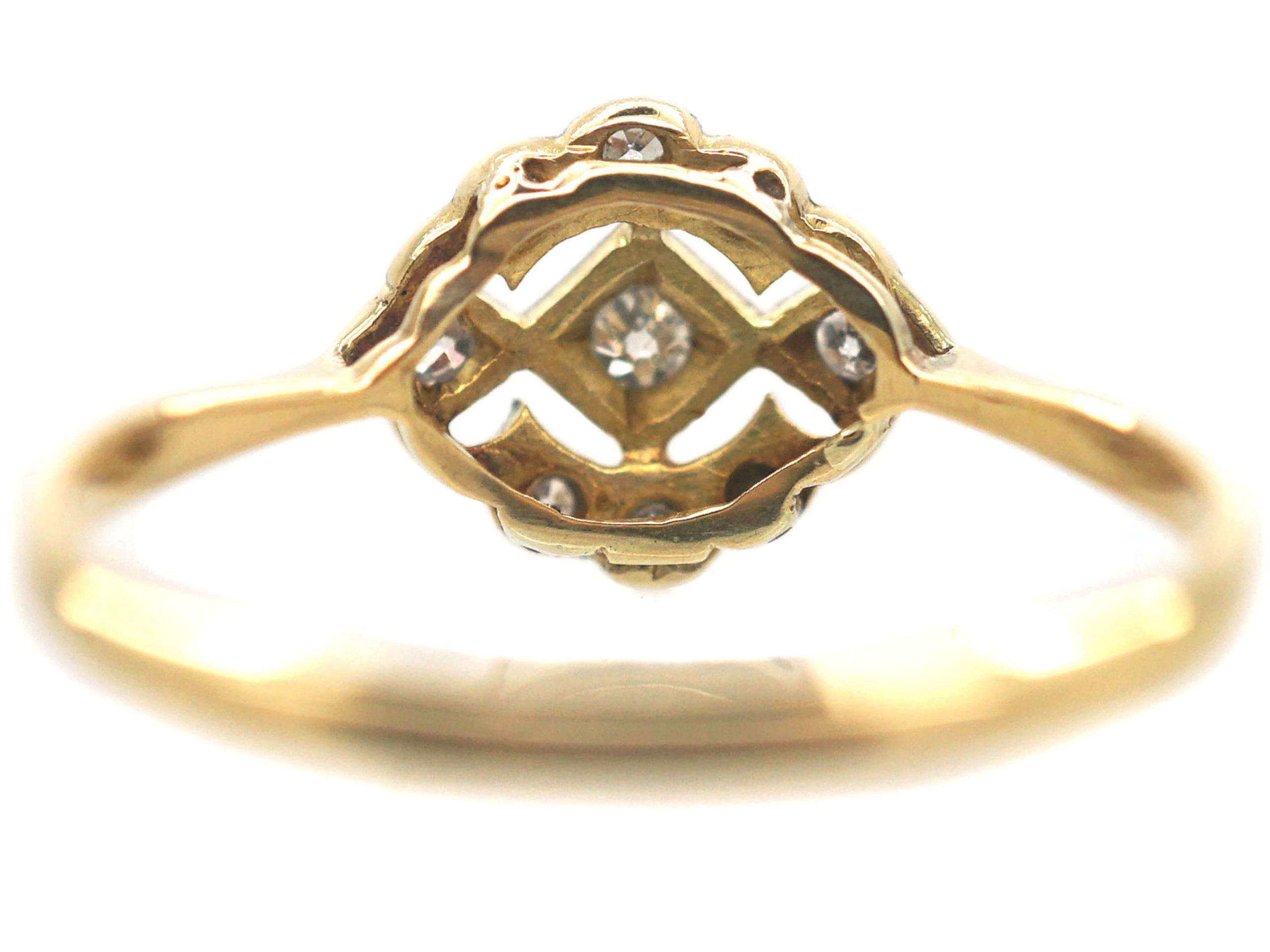 Art Deco 18ct Gold, Platinum & Diamond Cluster Ring