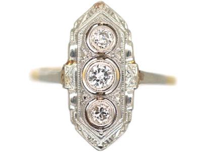 Art Deco 14ct Yellow & White Gold Three Stone Diamond Ring