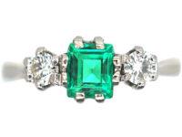 Art Deco Platinum Emerald & Diamond Three Stone Ring