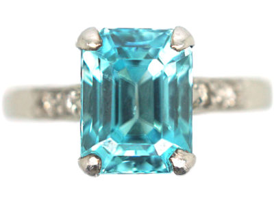 Art Deco 18ct White Gold Zircon & Diamond Rectangular Ring