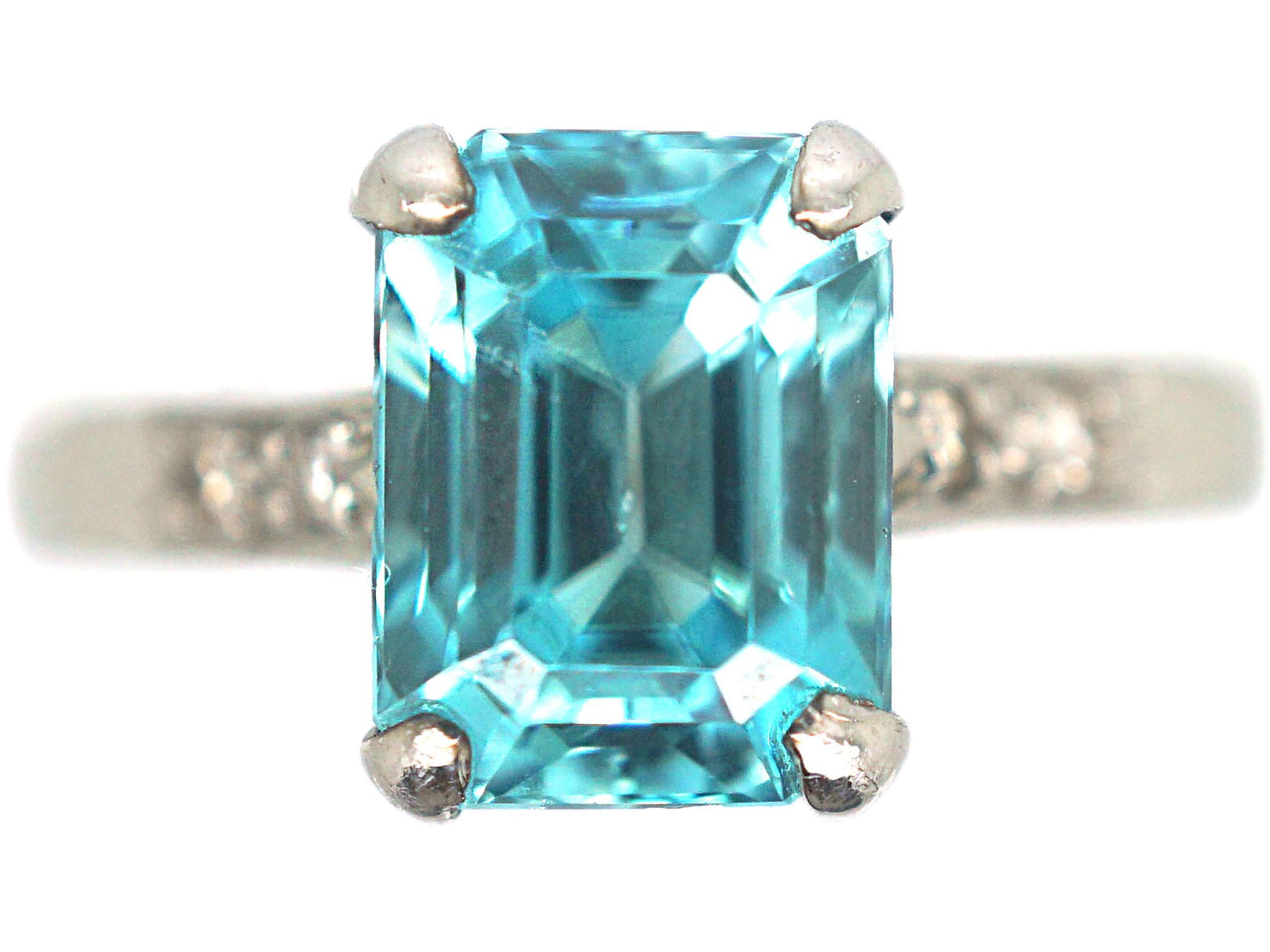 Art Deco 18ct White Gold Zircon & Diamond Rectangular Ring