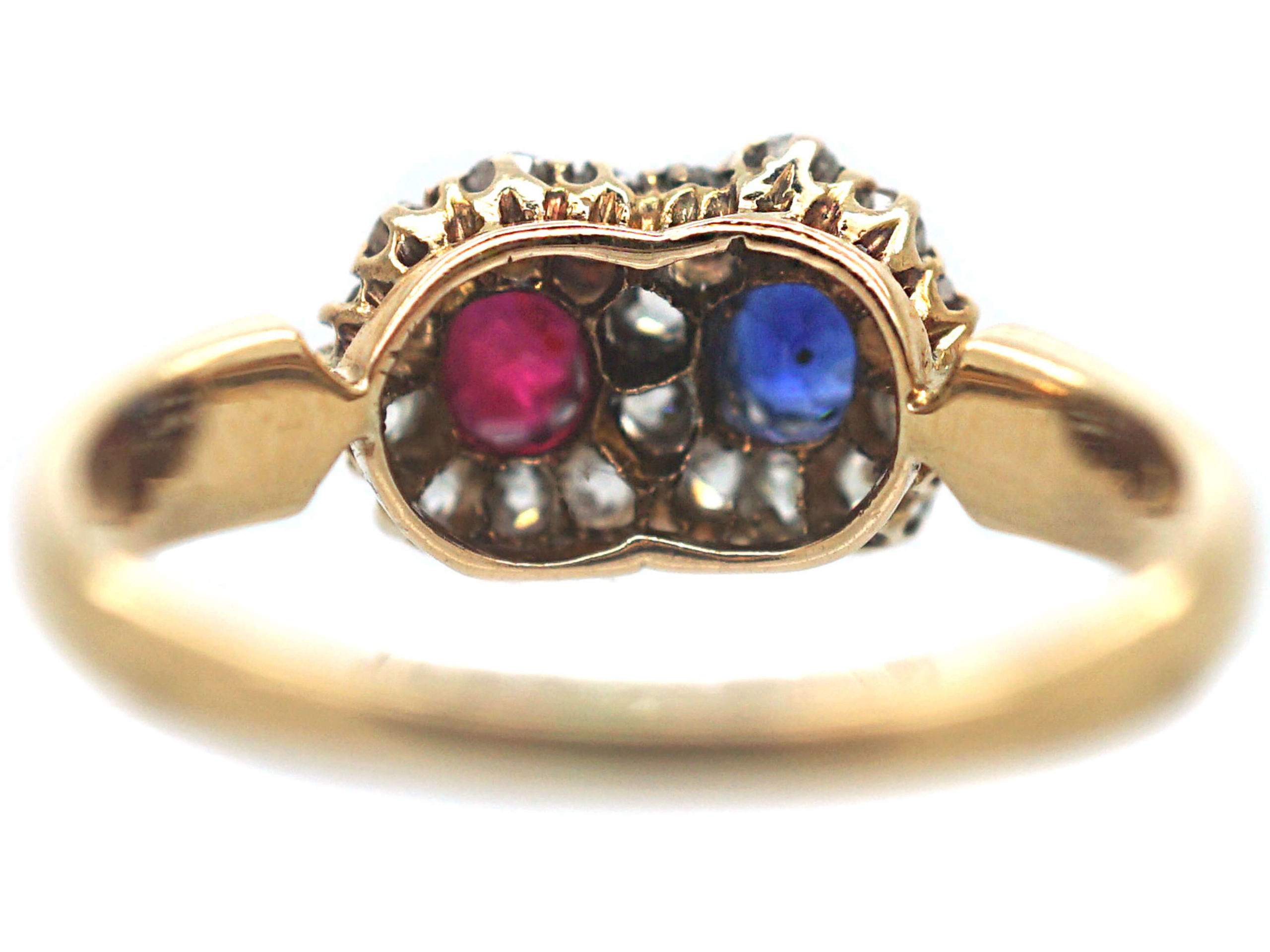 Edwardian 18ct Gold, Sapphire, Ruby & Diamond Double Cluster Ring