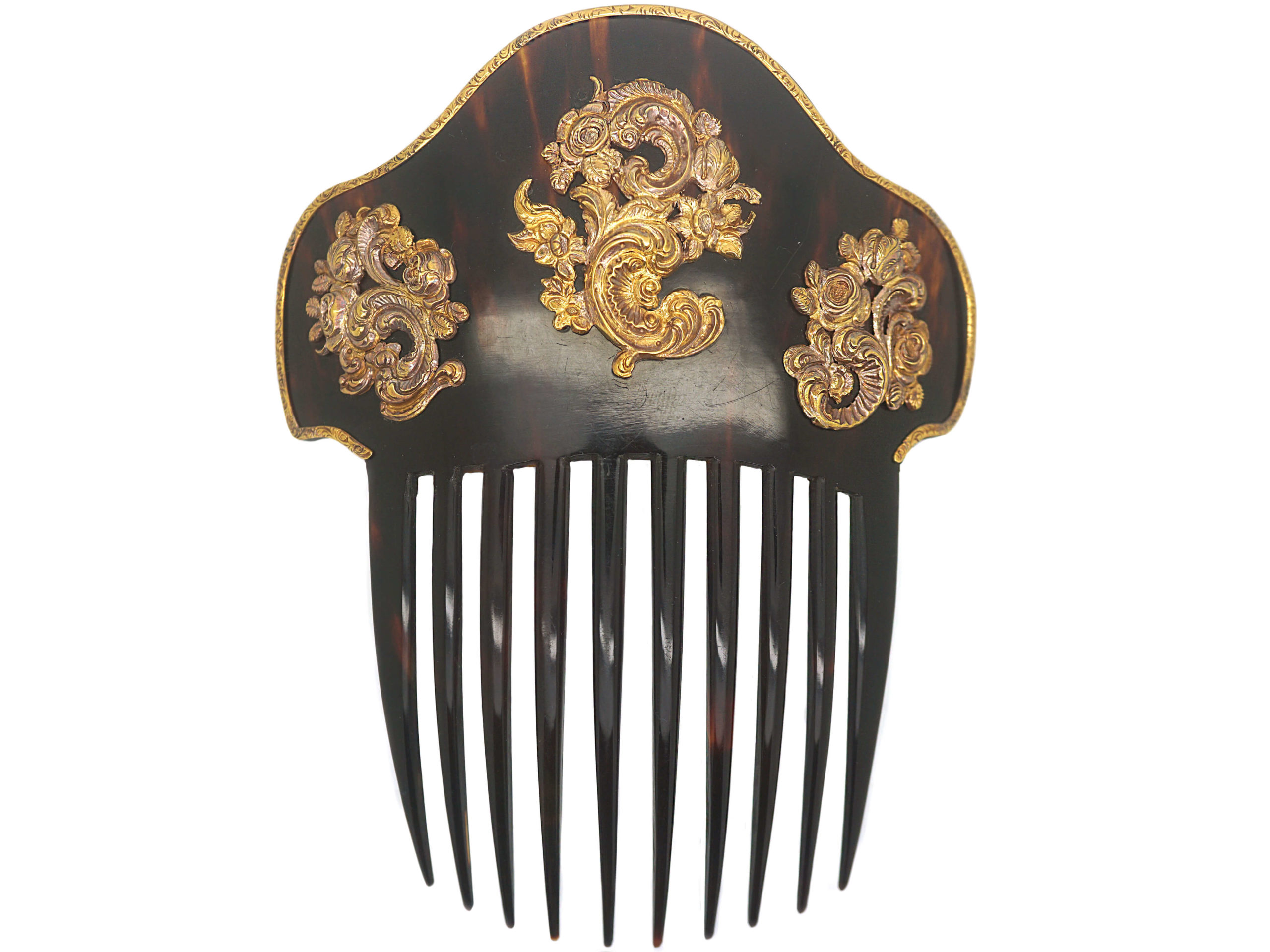 Large Victorian Tortoiseshell Hair Comb With Gold Cornucopias of Roses