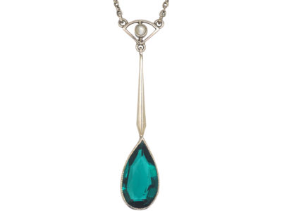 Art Deco Silver Drop Pendant on Silver Chain set with a Green Paste & Pearl